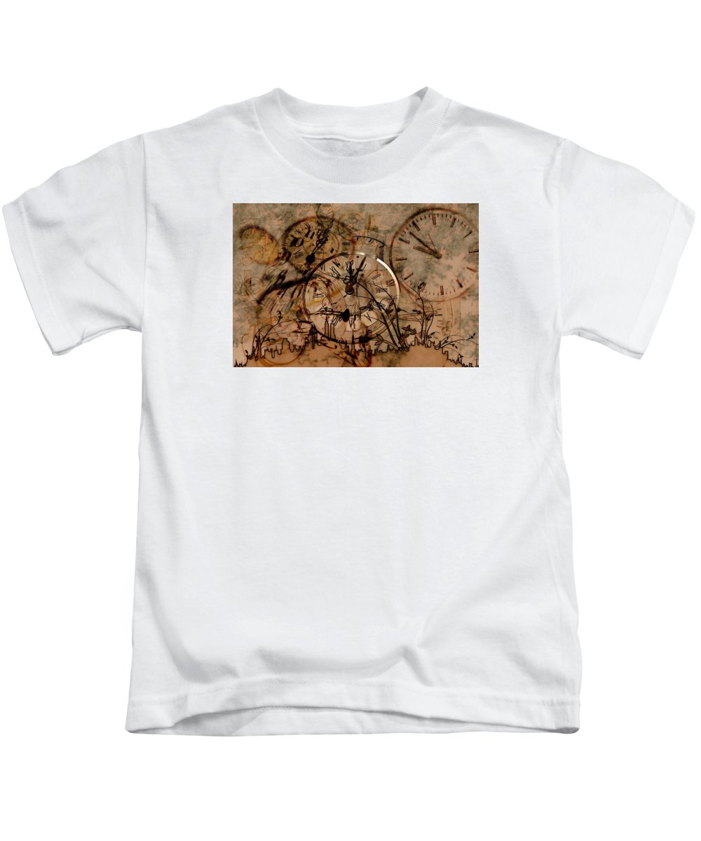 New Year's Day Kids T-Shirt featuring the drawing Time by FL collection