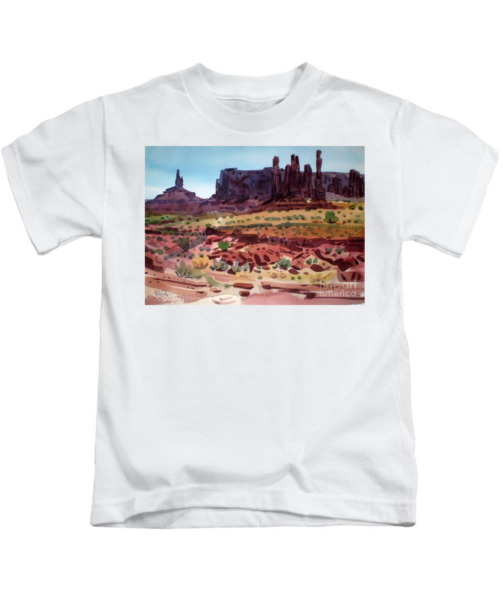 Monument Valley Kids T-Shirt featuring the painting Totem Poles by Donald Maier