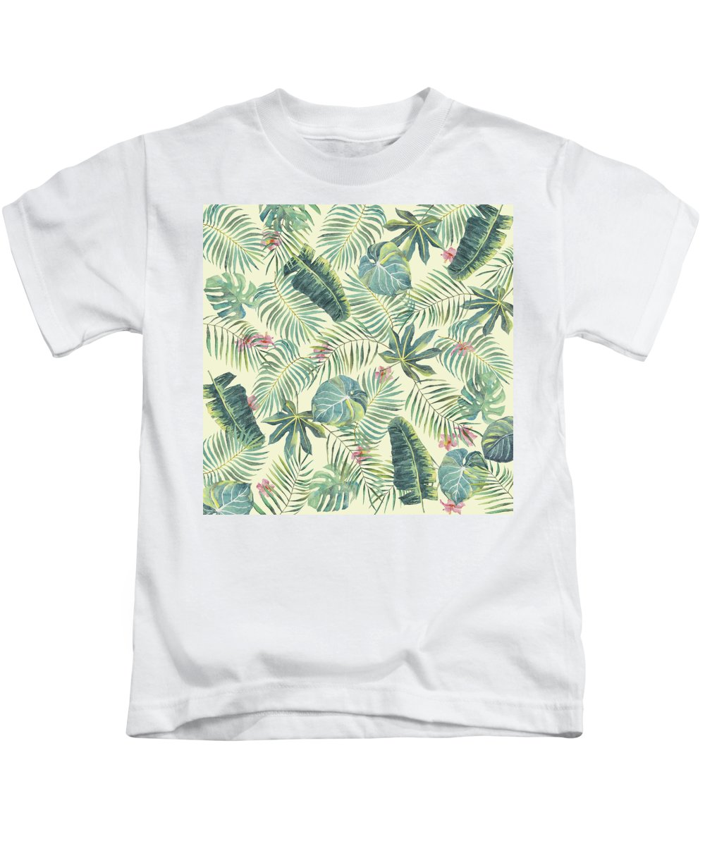 Tropical Kids T-Shirt featuring the digital art Tropical Leaves Pattern by Stanley Wong