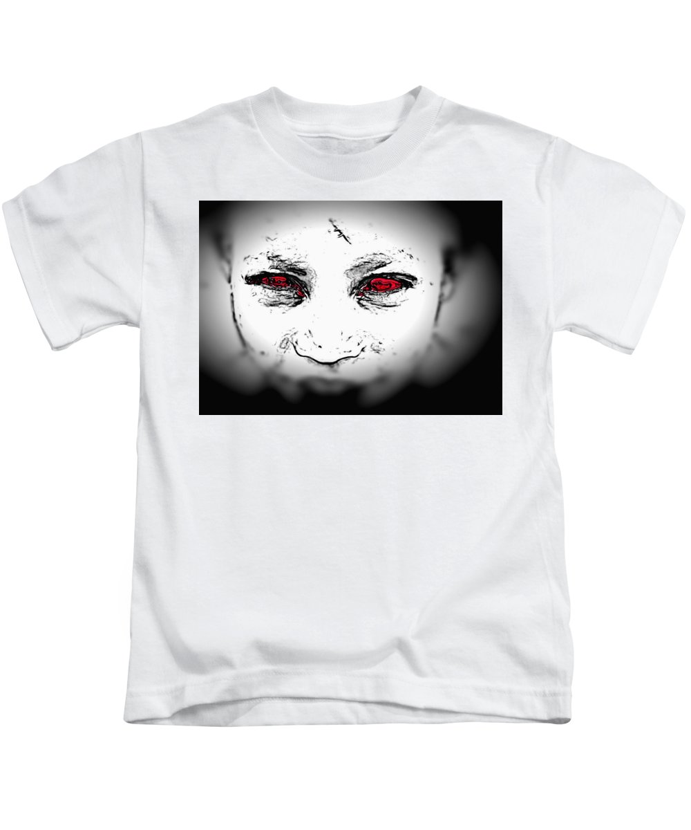 Eyes Face Looks Black And White Red Kids T-Shirt featuring the digital art Untitled by Veronica Jackson