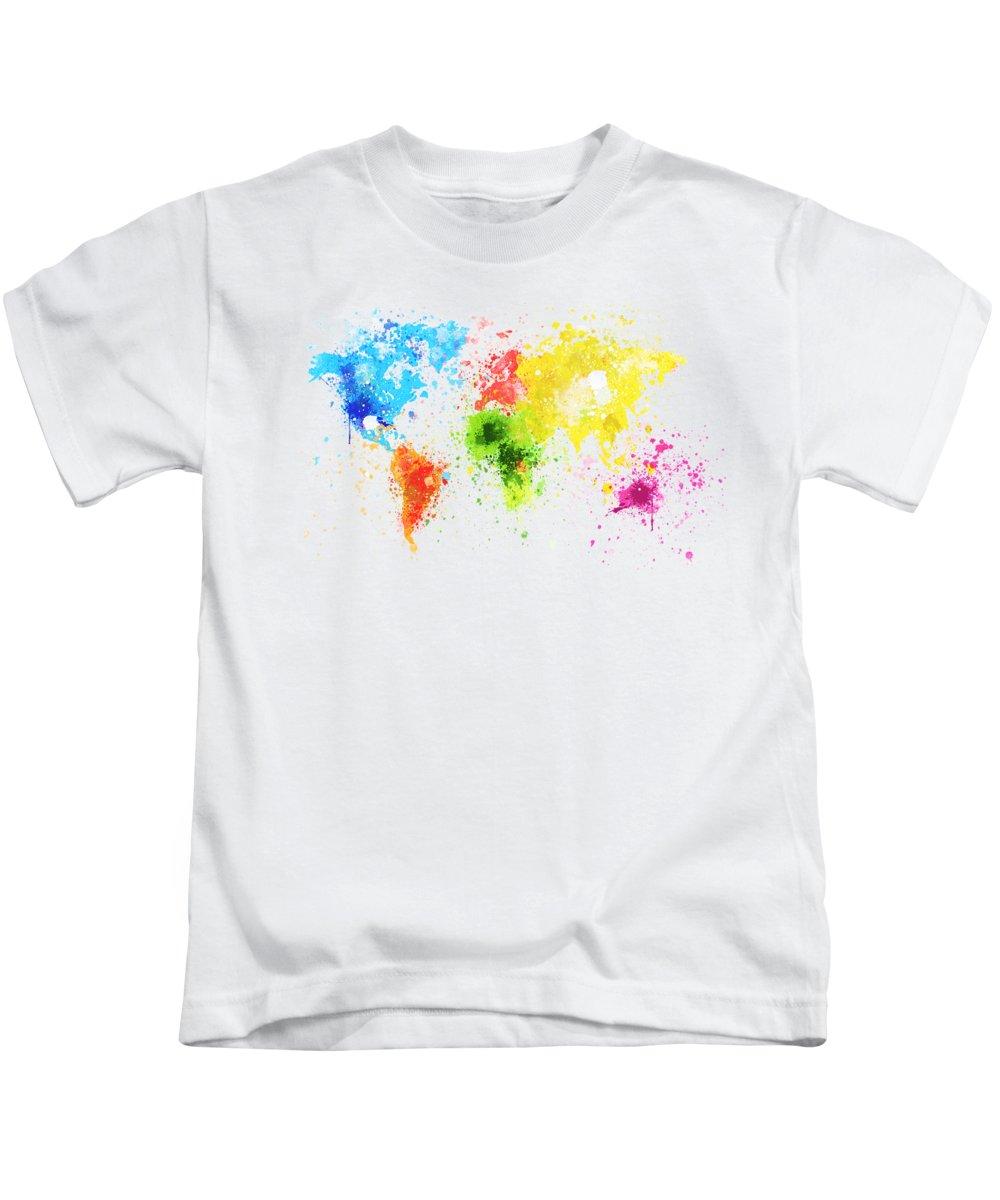 Adventure Kids T-Shirt featuring the painting World Map Painting by Setsiri Silapasuwanchai