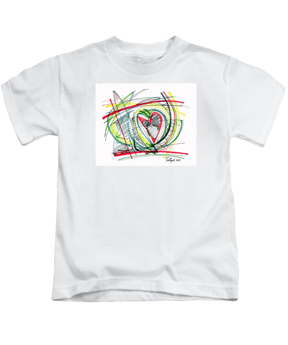 Abstract Art Kids T-Shirt featuring the drawing 2010 Abstract Drawing Eighteen by Lynne Taetzsch