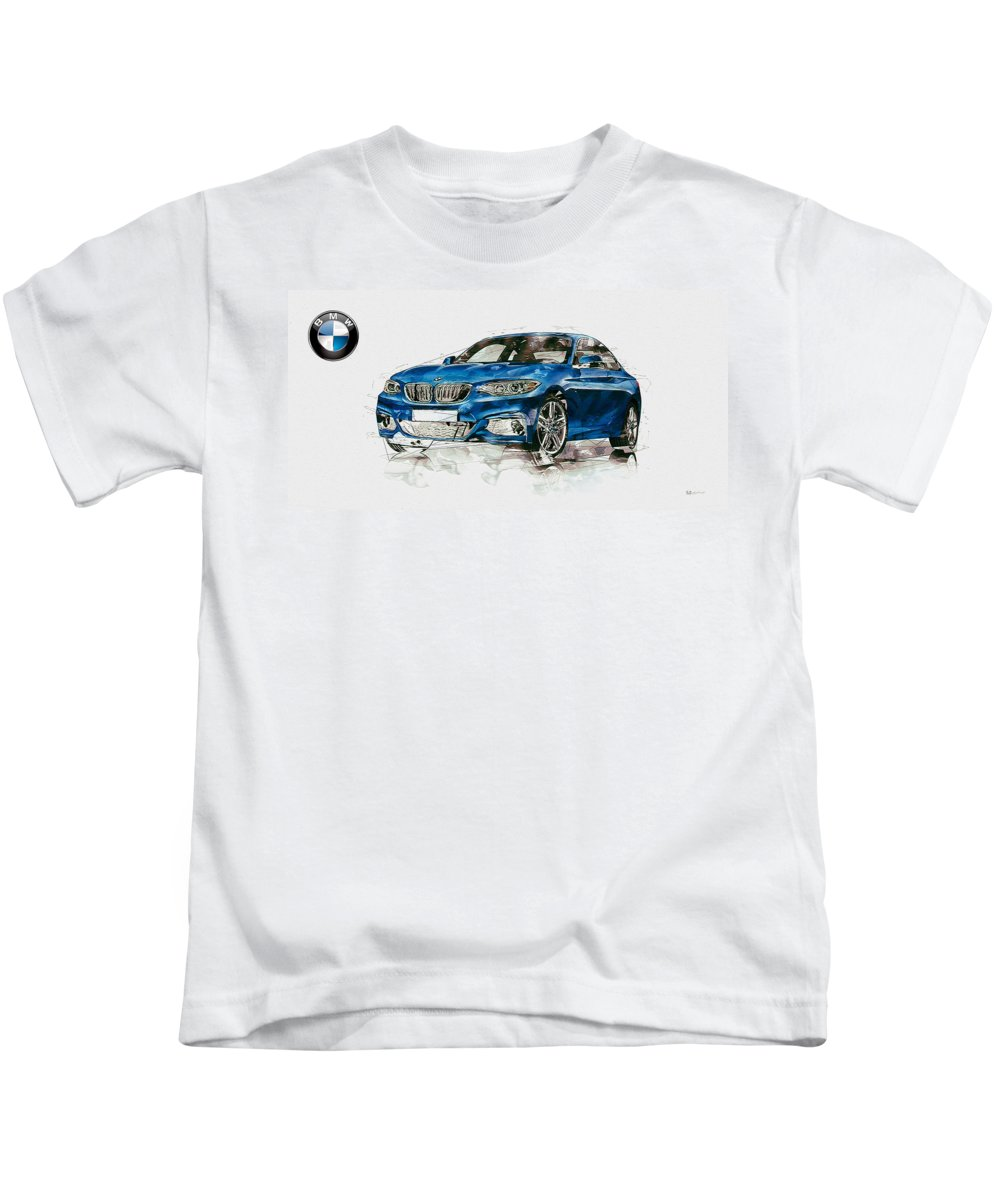 Wheels Of Fortune By Serge Averbukh Kids T-Shirt featuring the photograph 2014 B M W 2 Series Coupe With 3d Badge by Serge Averbukh