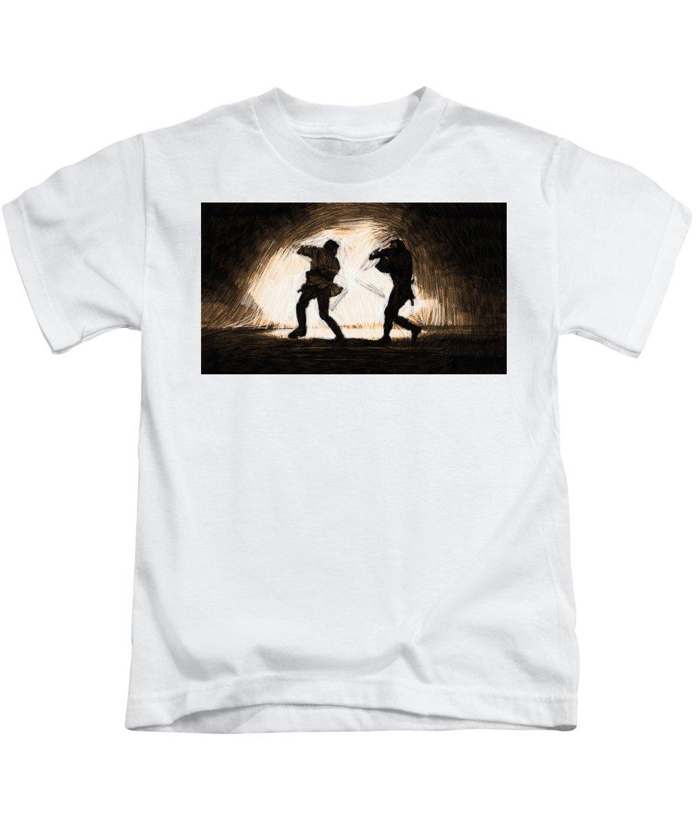 Star Wars 3 Kids T-Shirt featuring the digital art Star Wars A Art by Larry Jones