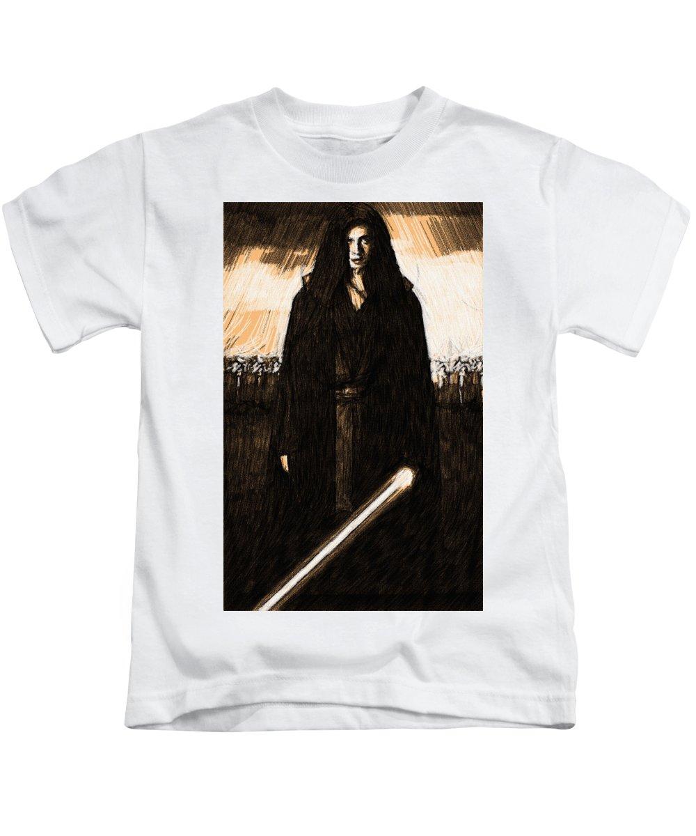 Star Wars Kids T-Shirt featuring the digital art Star Wars Episode 5 Art by Larry Jones