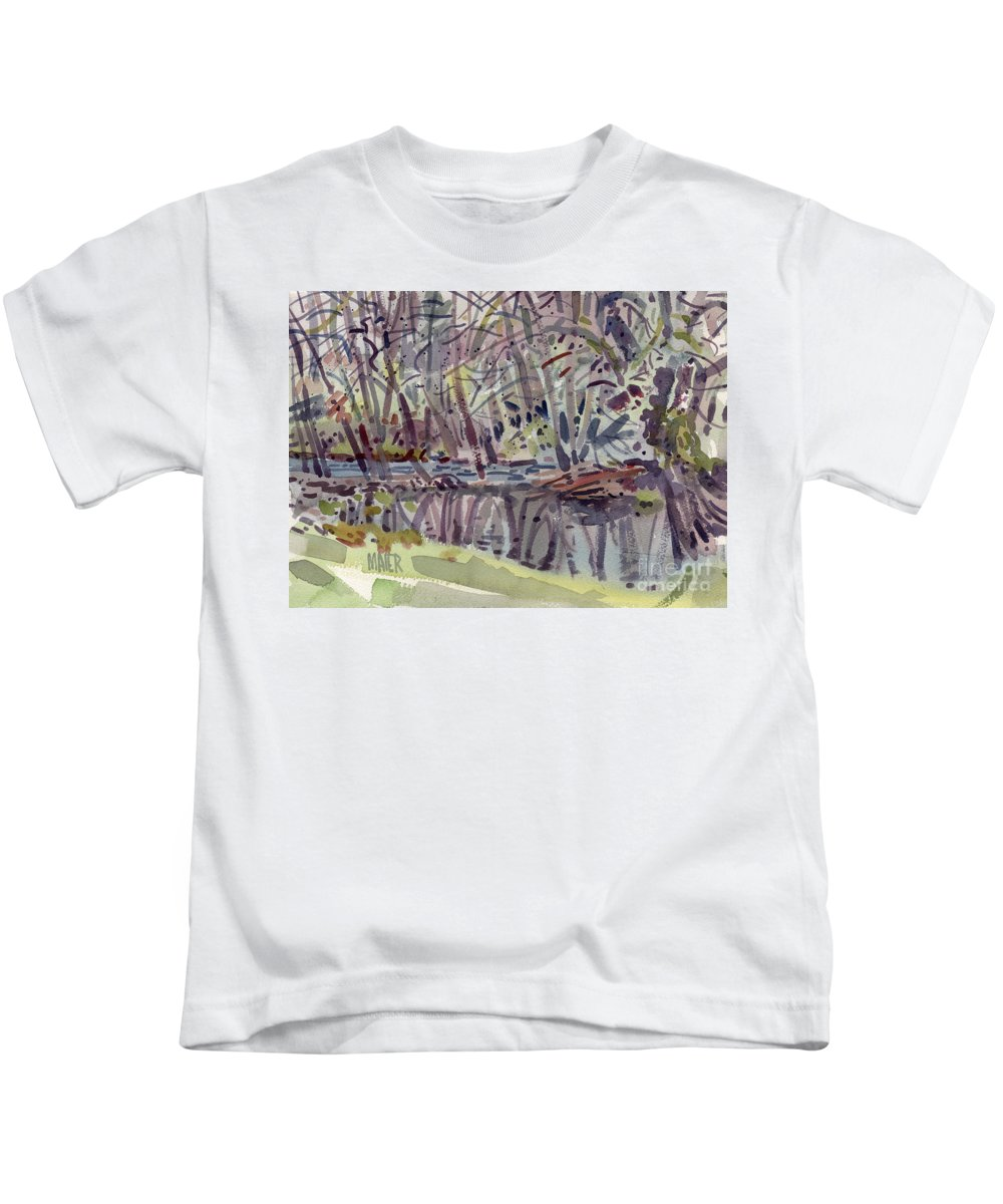 Plein Air Kids T-Shirt featuring the painting Alder Creek by Donald Maier