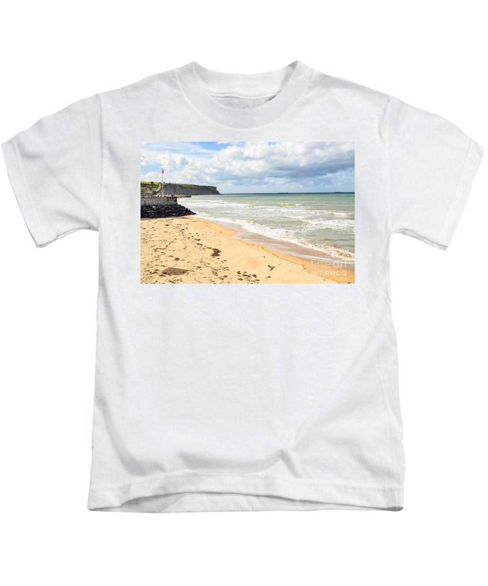 Allies Kids T-Shirt featuring the photograph Arromanches Beach by Kayme Clark