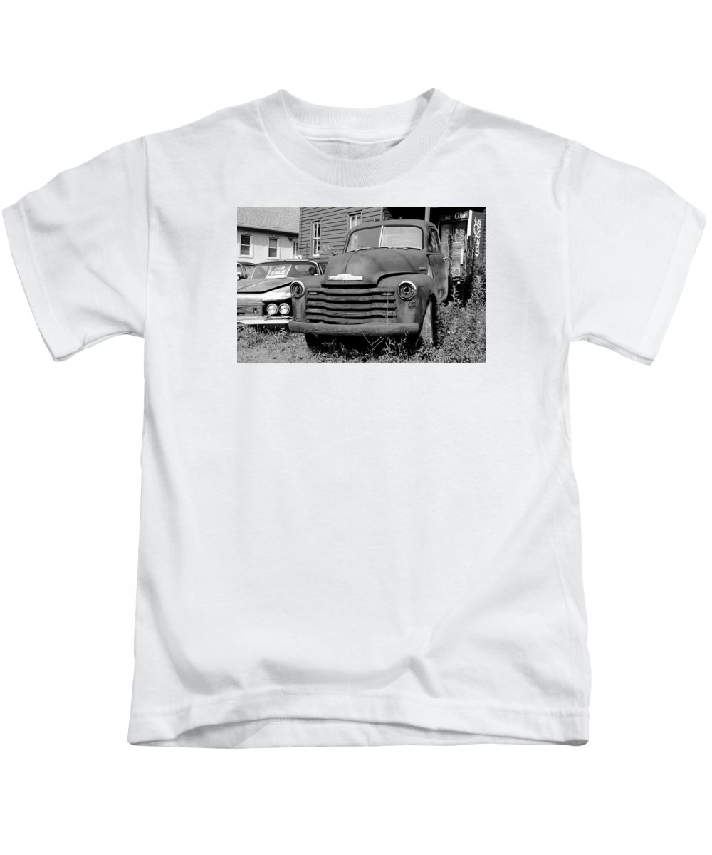 Chrysler Kids T-Shirt featuring the photograph Old And Forgotten - Bw by Brian Manfra