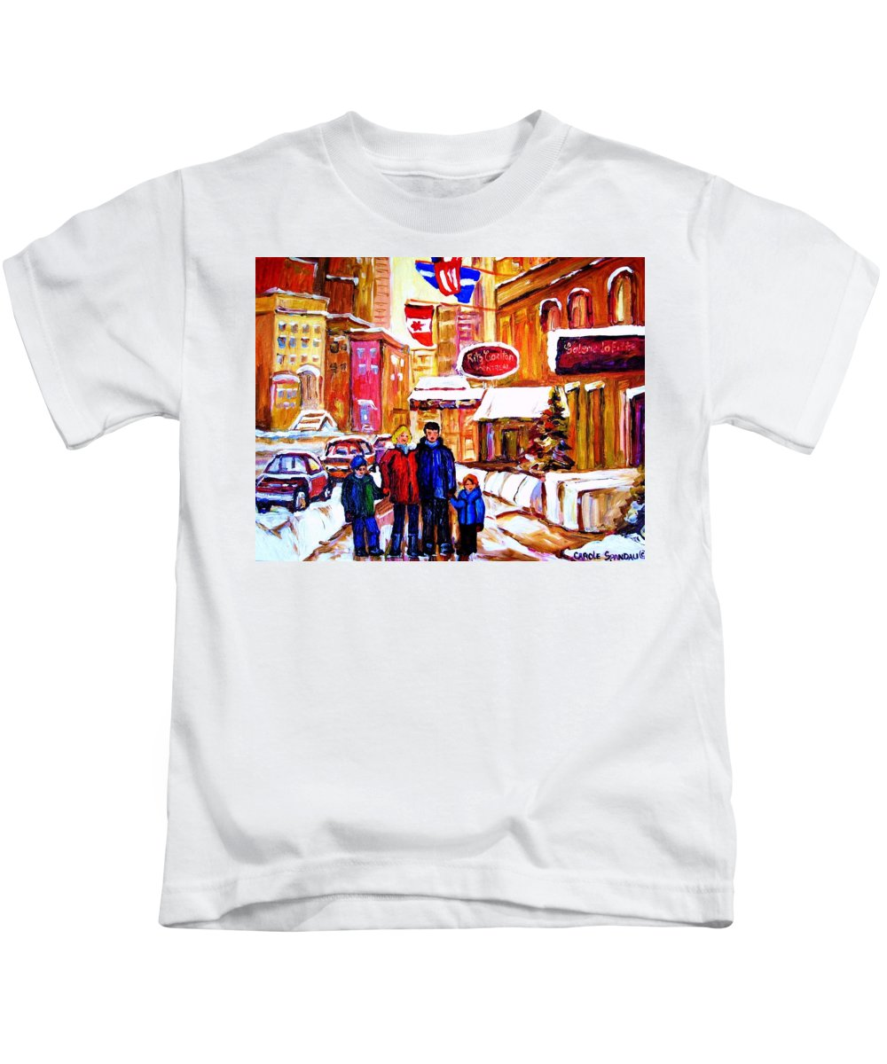 Montreal Kids T-Shirt featuring the painting Montreal Street In Winter by Carole Spandau