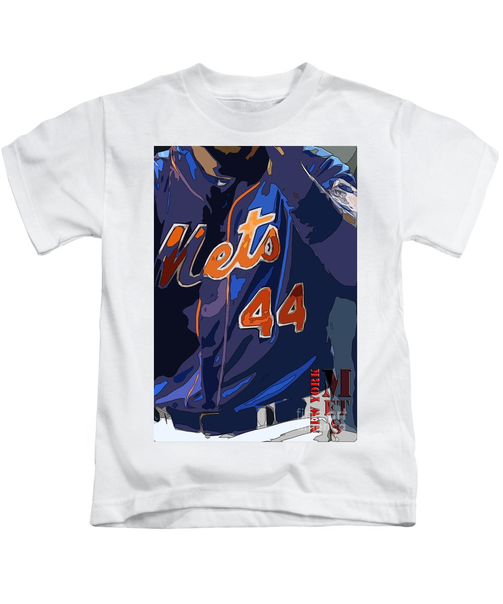 Mets Kids T-Shirt featuring the painting New York Mets Baseball Team And New Typography by Drawspots Illustrations