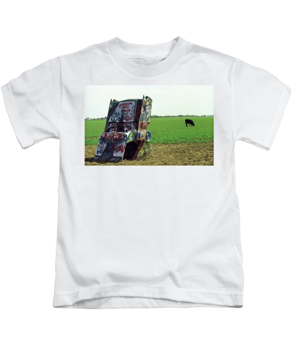 66 Kids T-Shirt featuring the photograph Route 66 - Cadillac Ranch by Frank Romeo