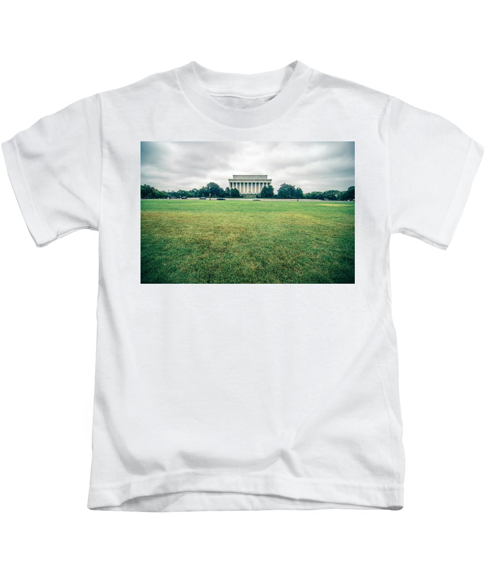 Washington Kids T-Shirt featuring the photograph Scenes Around Lincoln Memorial Washington Dc by Alex Grichenko