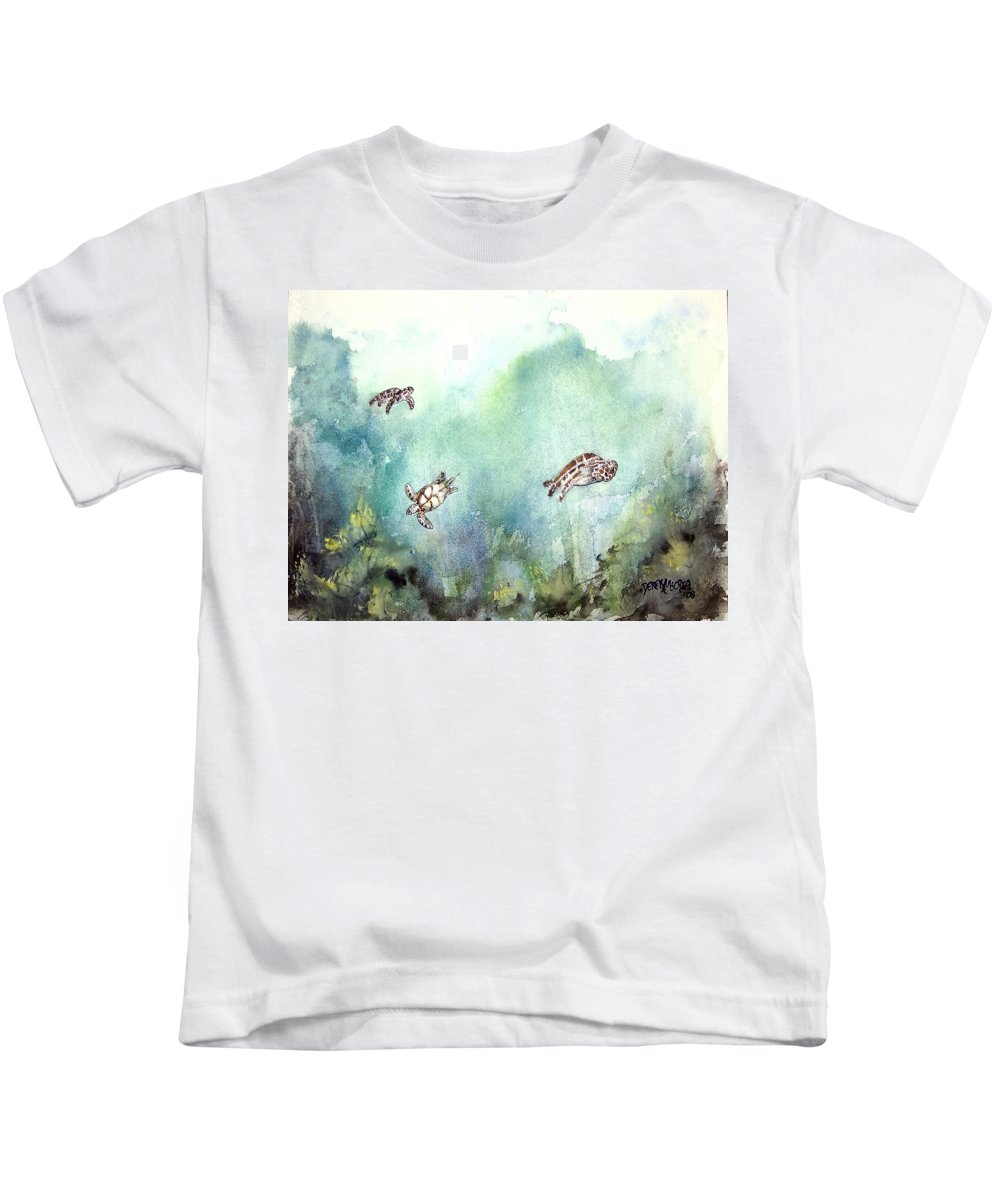 Turtle Kids T-Shirt featuring the painting 3 Sea Turtles by Derek Mccrea