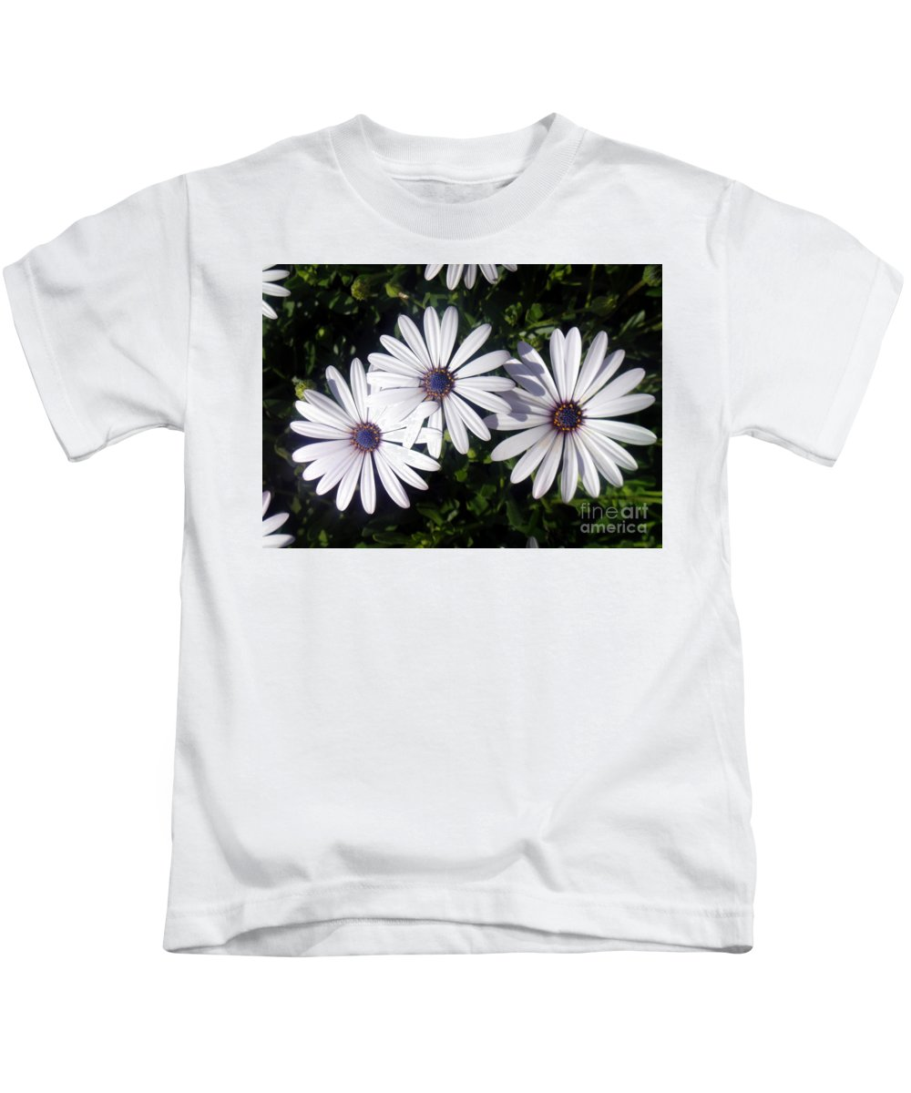 White Flowers Kids T-Shirt featuring the photograph 3 Sisters by Sofia Metal Queen