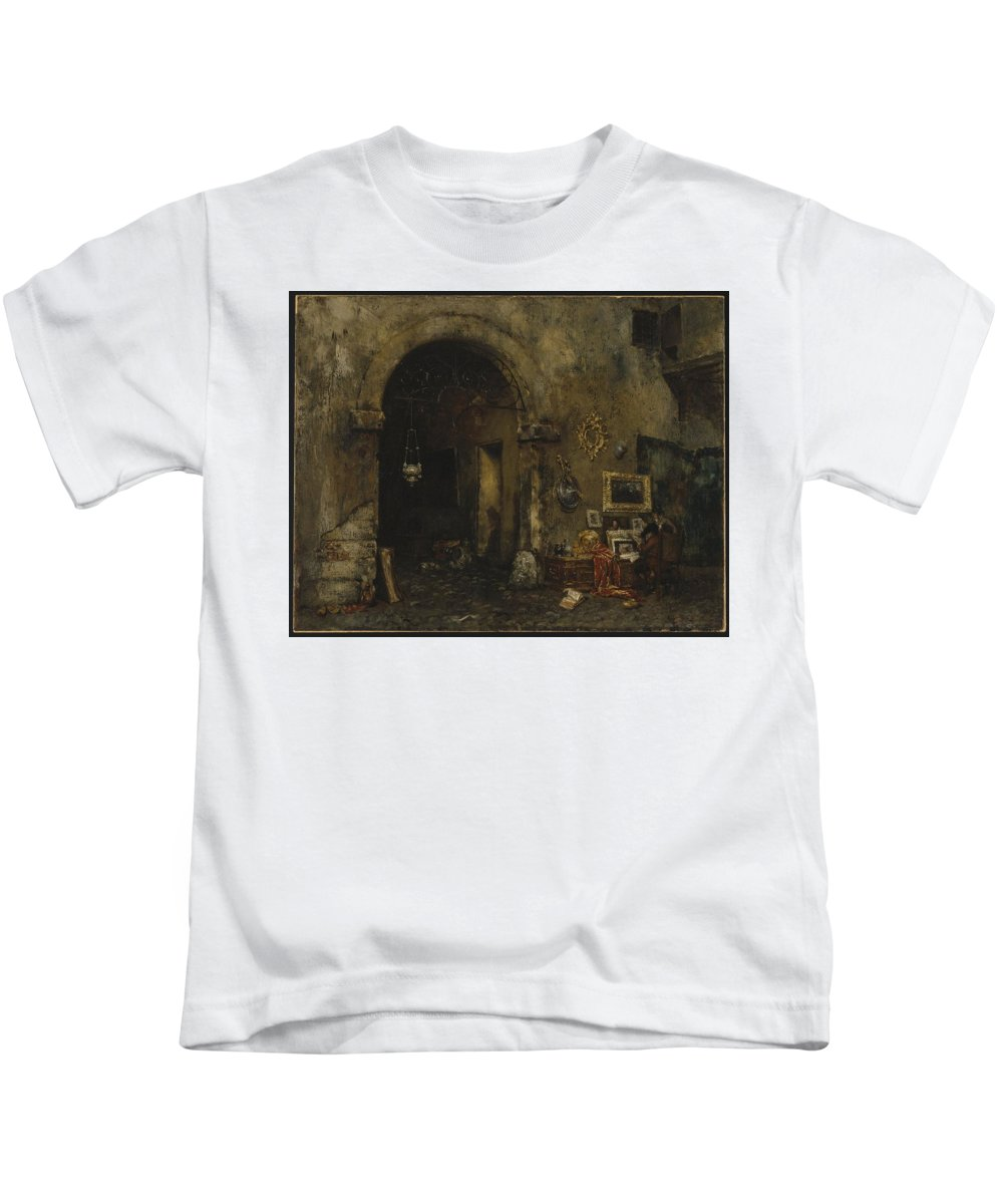 William Merritt Chase (american Kids T-Shirt featuring the painting The Antiquary Shop by William Merritt