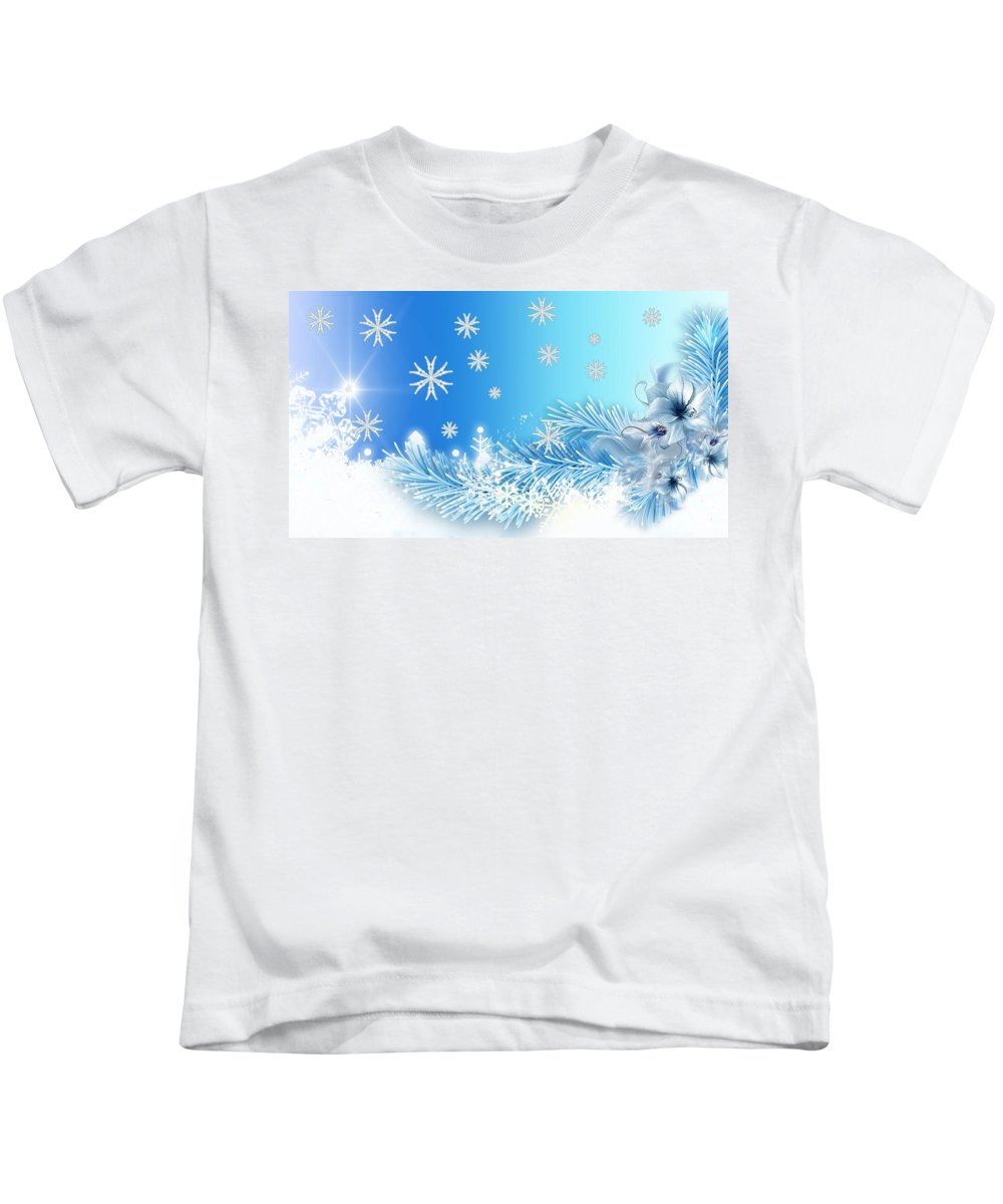 Winter Kids T-Shirt featuring the digital art Winter by Dorothy Binder
