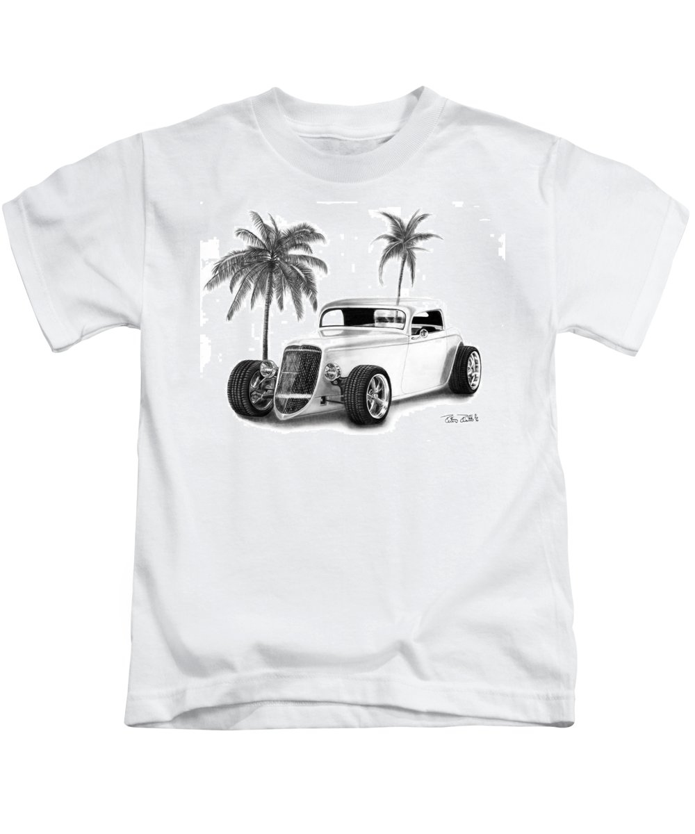 1933 Ford Coupe Kids T-Shirt featuring the drawing 33 Ford Coupe by Peter Piatt