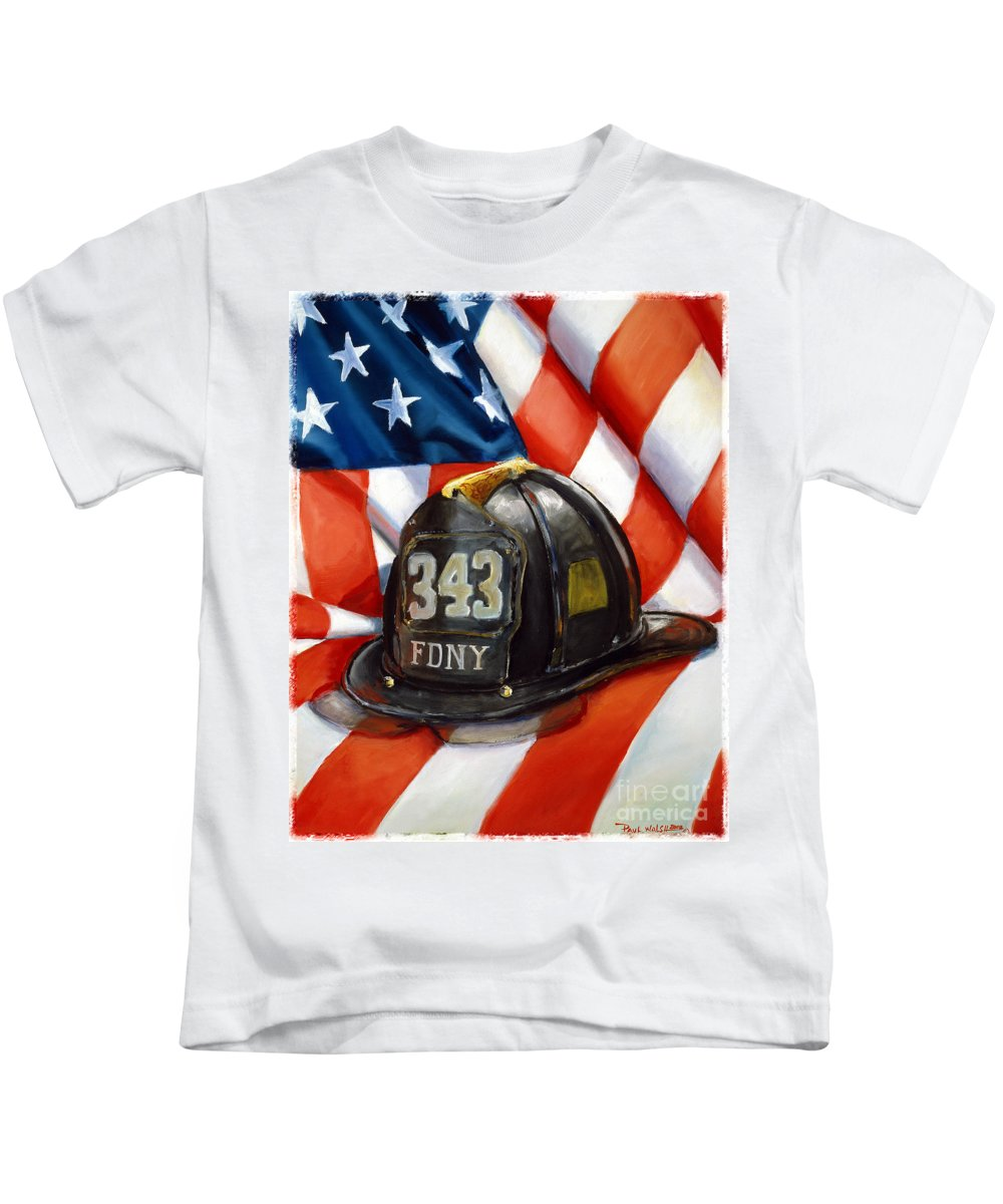 American Flag Kids T-Shirt featuring the painting 343 by Paul Walsh