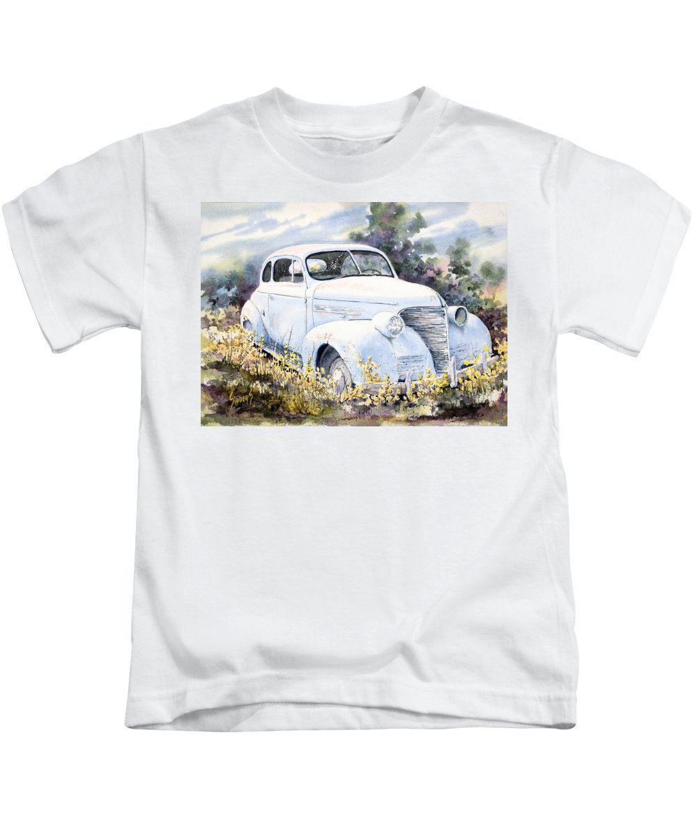 Automobile Kids T-Shirt featuring the painting 39 Chevy by Sam Sidders