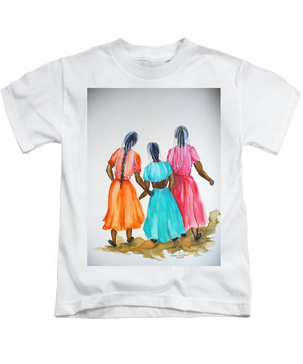 Three Ladies East Indian Kids T-Shirt featuring the painting 3bff by Karin Dawn Kelshall- Best