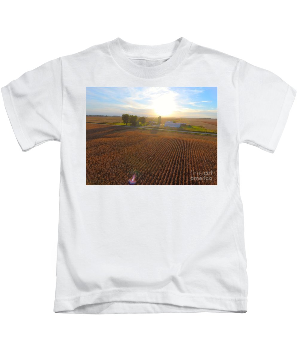 Farming Kids T-Shirt featuring the photograph Farming by Timeless Aerial Photography LLC