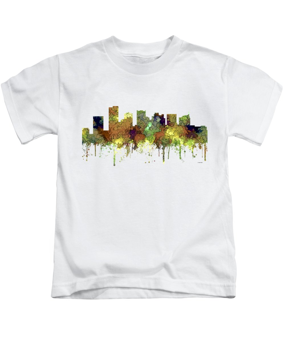 Scottsdale Arizona Skyline Kids T-Shirt featuring the digital art Scottsdale Arizona Skyline by Marlene Watson