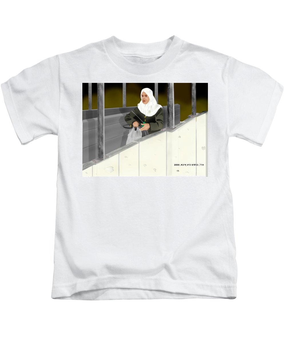 Kids T-Shirt featuring the digital art The Checkpoint by Yael Reshef