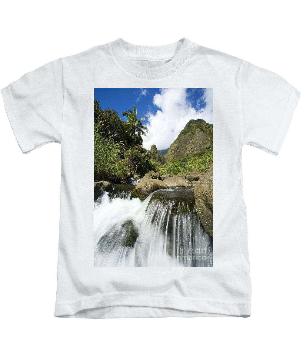 Afternoon Kids T-Shirt featuring the photograph View Of Iao Needle by Ron Dahlquist - Printscapes
