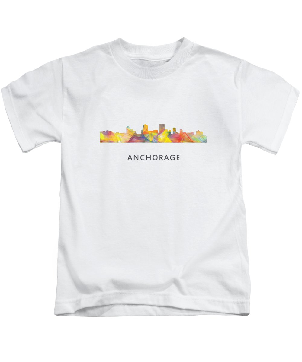 Anchorage Alaska Skyline Kids T-Shirt featuring the digital art Anchorage Alaska Skyline by Marlene Watson
