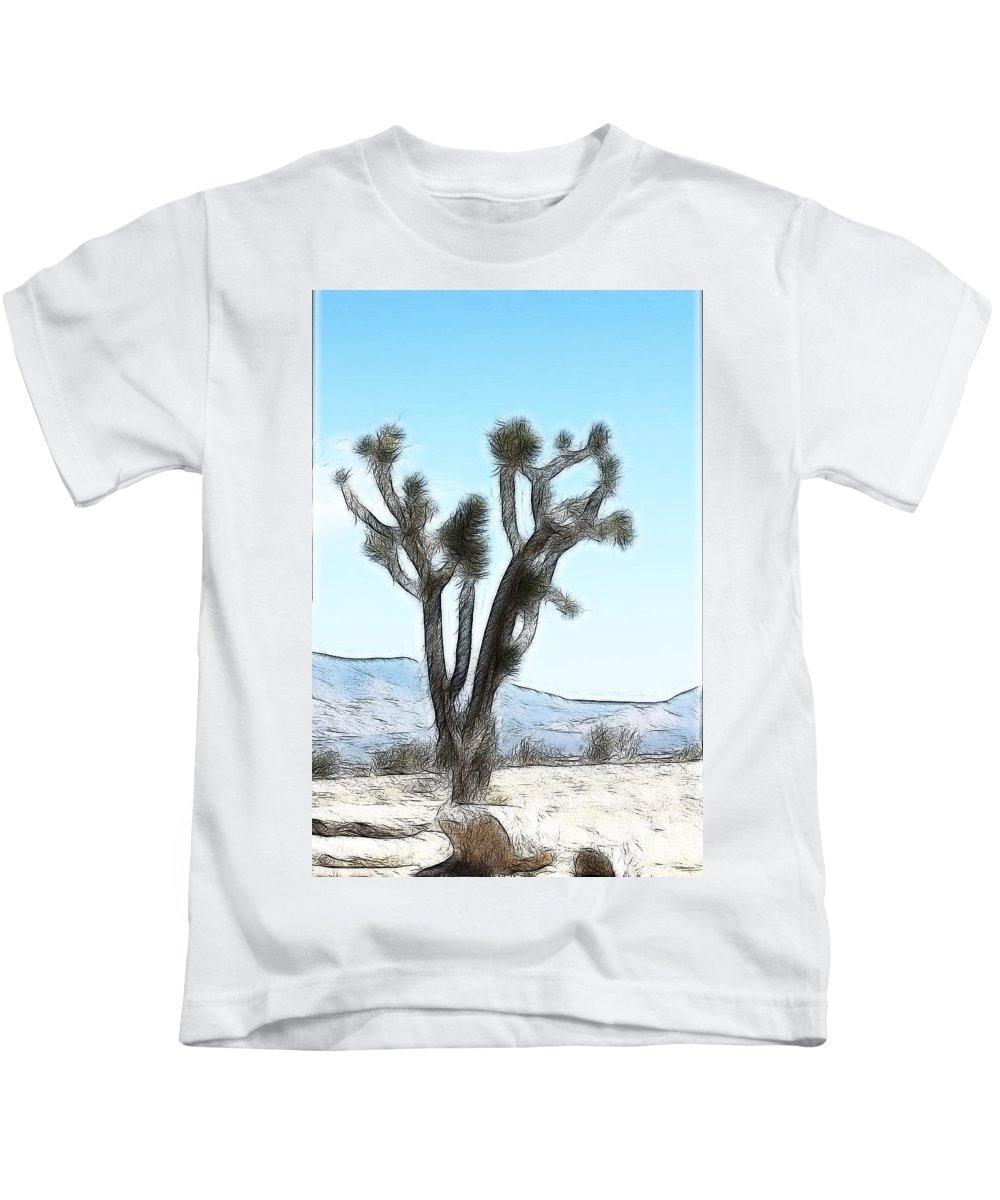 Desert Life Kids T-Shirt featuring the digital art Joshua Tree by Gravityx9 Designs