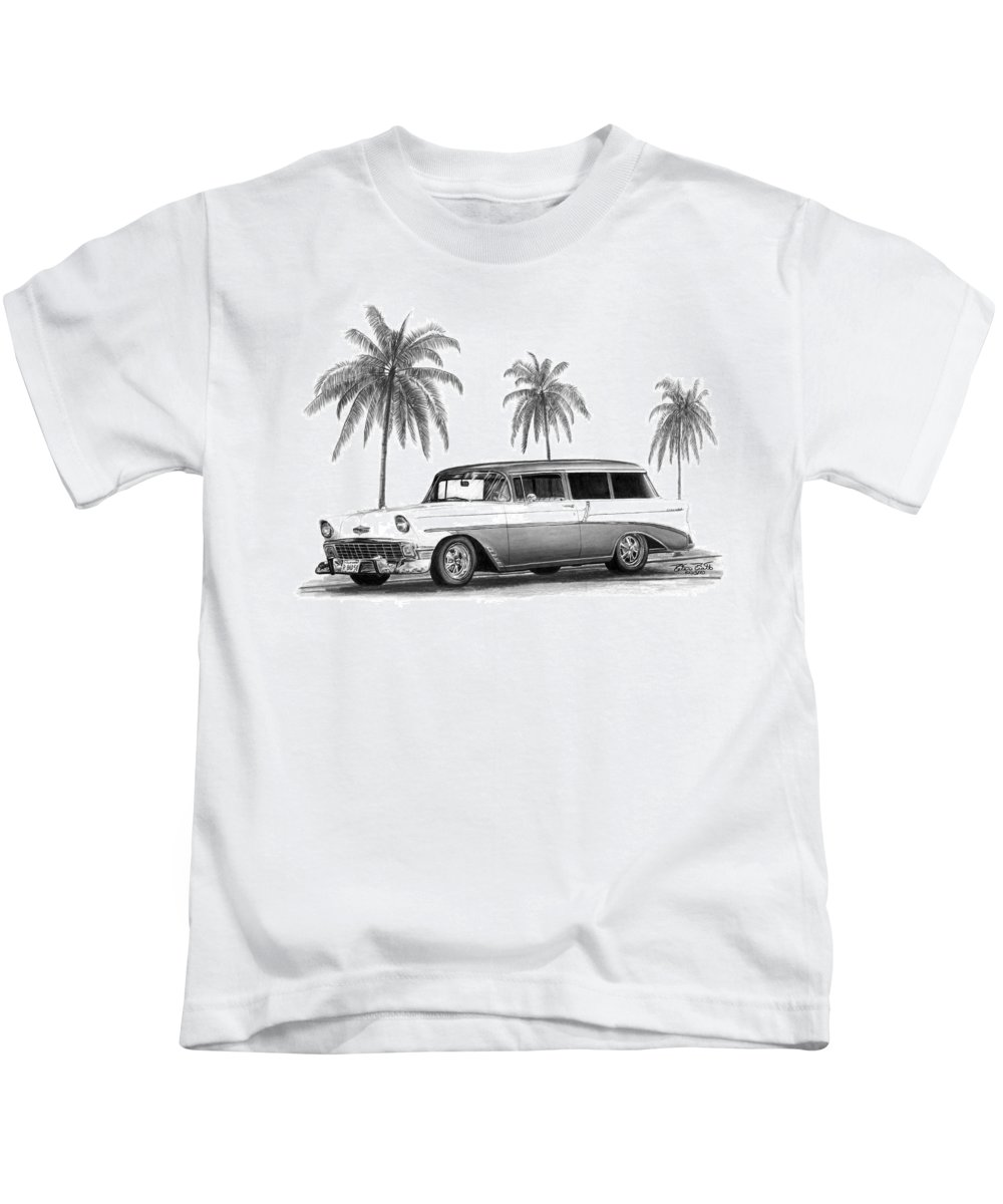 1957 Chevrolet Wagon Kids T-Shirt featuring the drawing 56 Chevy Wagon by Peter Piatt