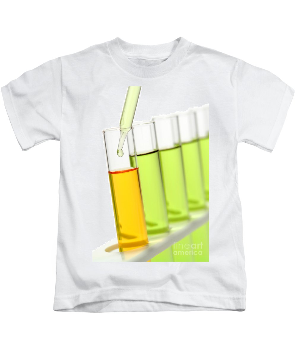 Chemical Kids T-Shirt featuring the photograph Laboratory Experiment In Science Research Lab by Olivier Le Queinec