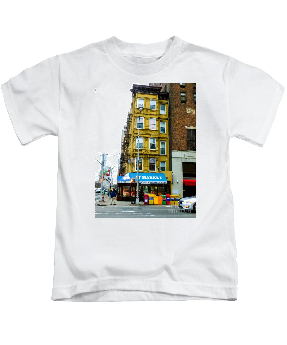 This Is The 57 Street Market In New York City Kids T-Shirt featuring the photograph 57 Market New York City by William Rogers