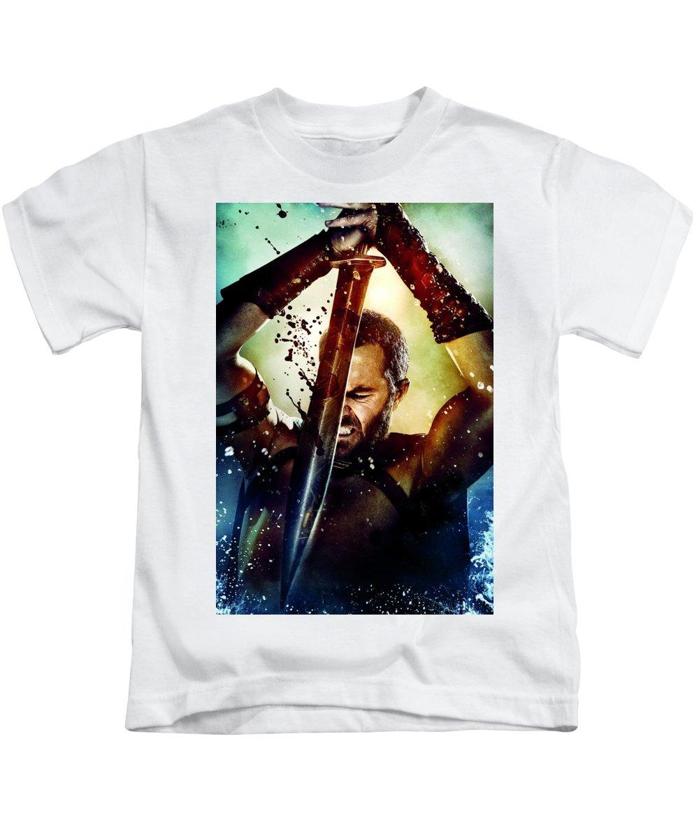 300 Rise Of An Empire 2014 Kids T-Shirt featuring the digital art 300 Rise Of An Empire 2014 by Geek N Rock