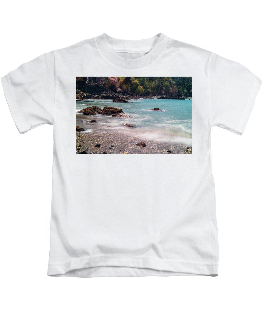 Rocky Kids T-Shirt featuring the photograph Rocky Seashore by Cara Koch