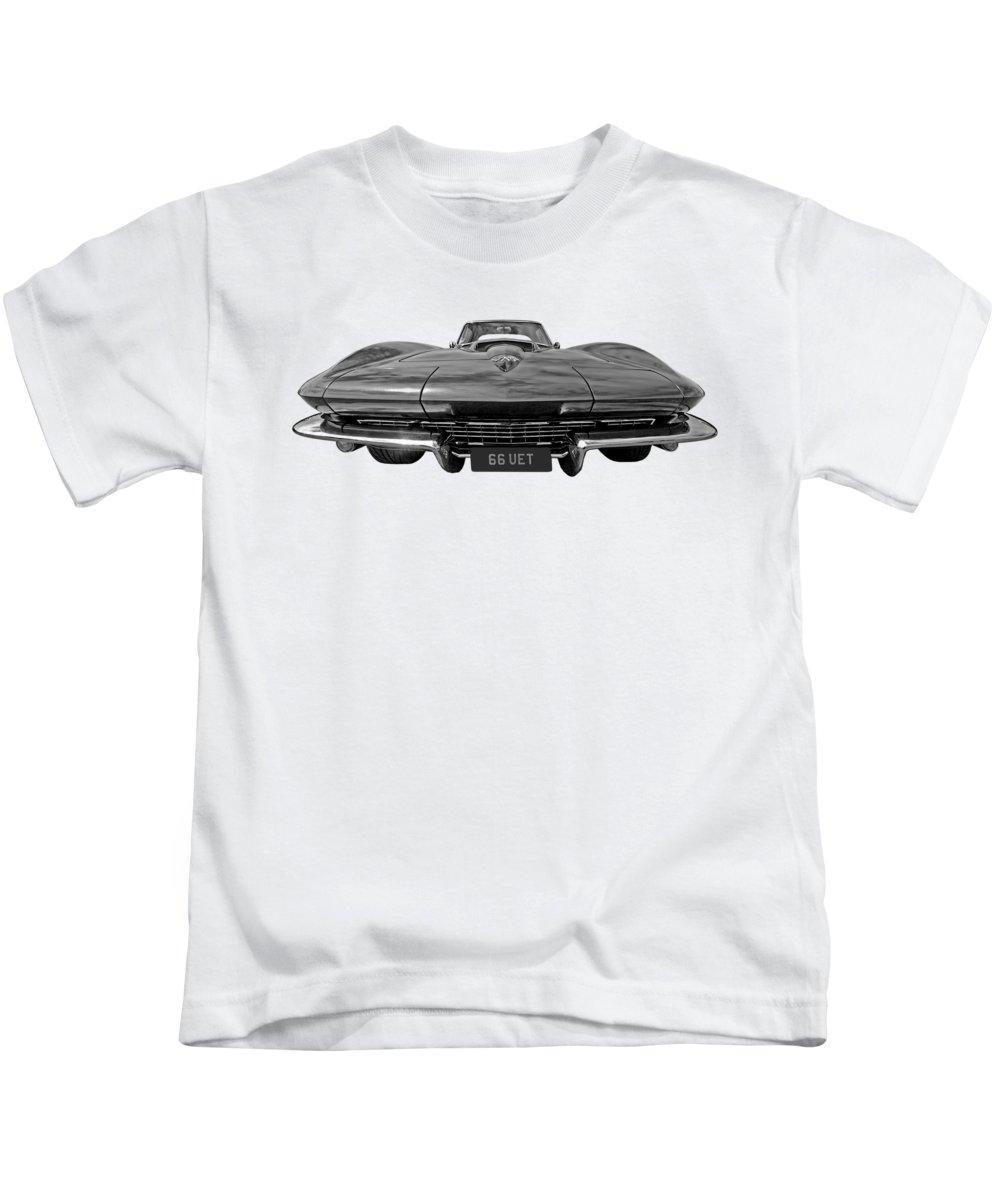 Corvette Stingray Kids T-Shirt featuring the photograph 66 Vette Stingray In Black And White by Gill Billington