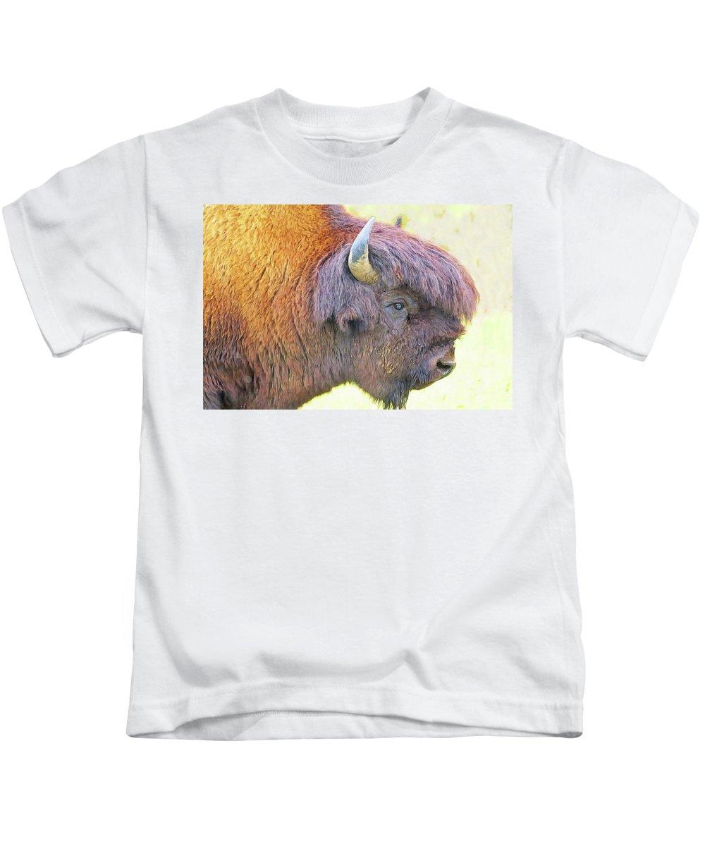 Animal Kids T-Shirt featuring the digital art Bison by Nadezhda Zhuravleva