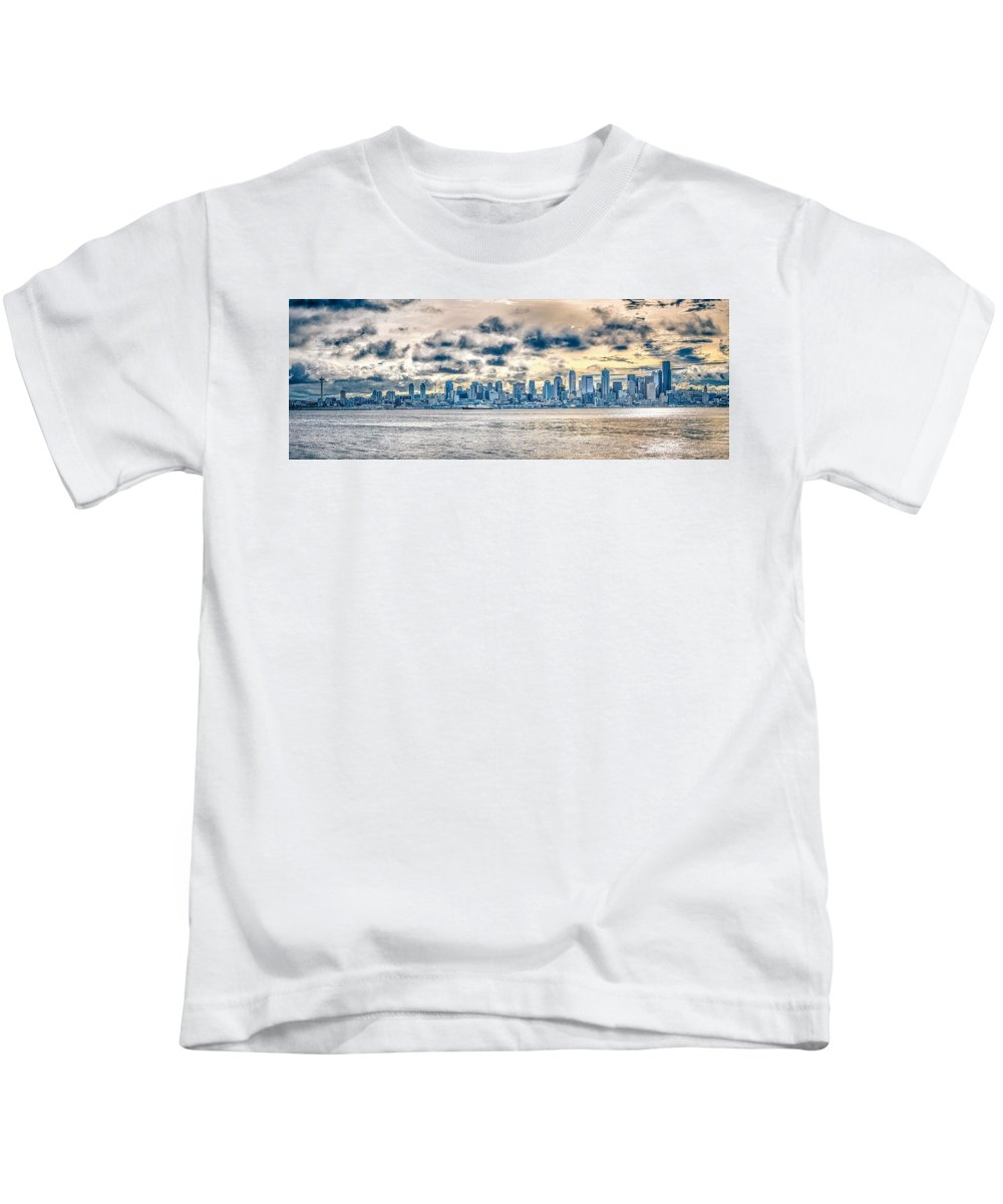 Sky Kids T-Shirt featuring the photograph Cloudy Morning Over Seattle Washington Skyline by Alex Grichenko