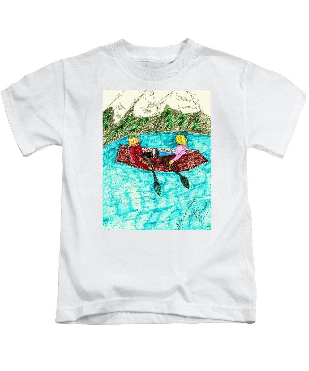 Two People A Canoe Lake Mountains Background Kids T-Shirt featuring the mixed media A Canoe Ride by Elinor Helen Rakowski