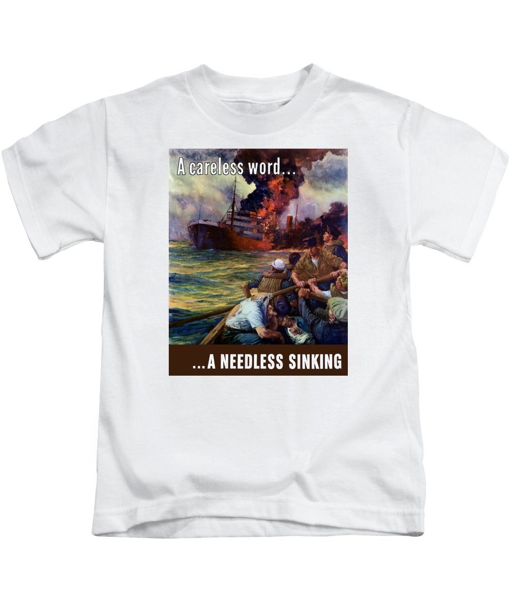 Navy Kids T-Shirt featuring the painting A Careless Word A Needless Sinking by War Is Hell Store