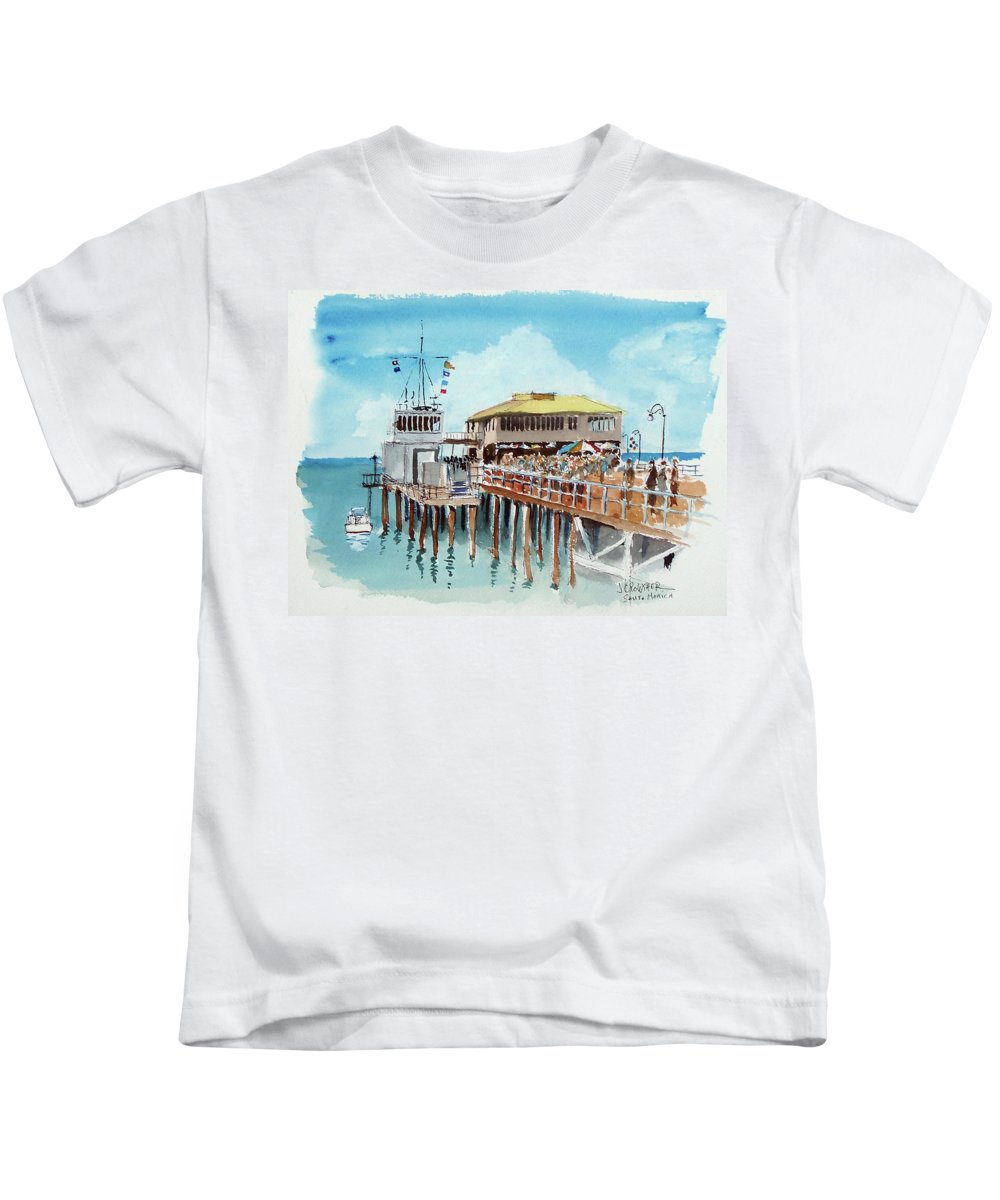 Marine Kids T-Shirt featuring the painting A Day At The Shore by John Crowther