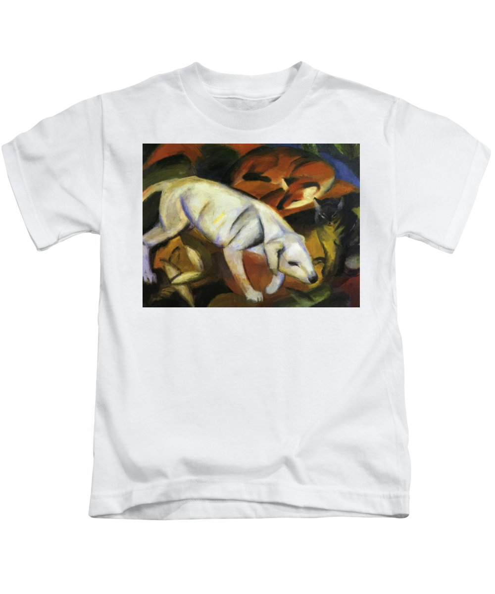 A Kids T-Shirt featuring the painting A Dog 1912 by Marc Franz