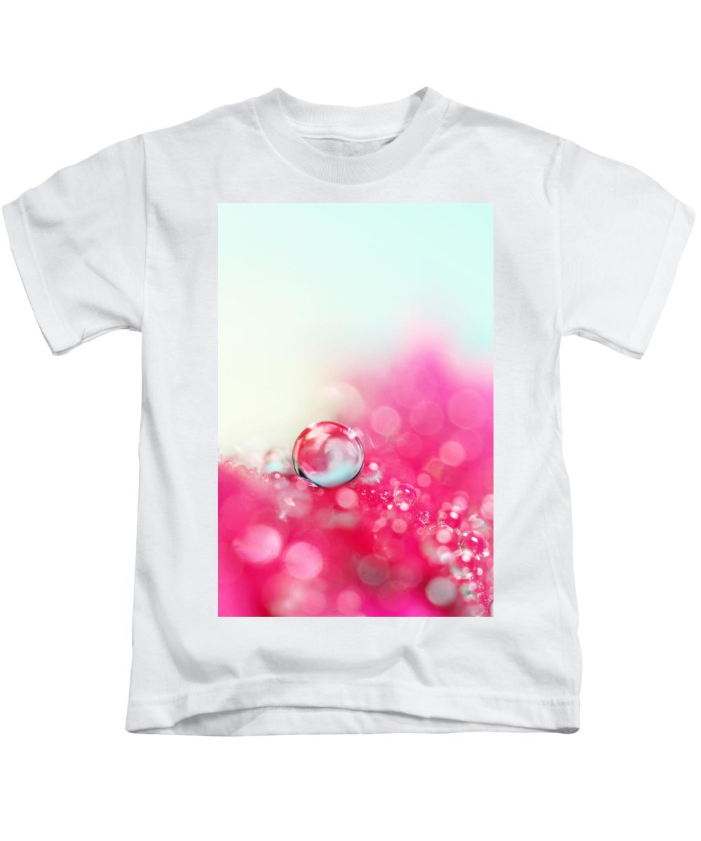 Macro Kids T-Shirt featuring the photograph A Drop With Raspberrys And Cream by Sharon Johnstone