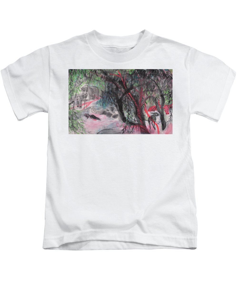 Willow Kids T-Shirt featuring the painting A Nice Day by Chinaart Find