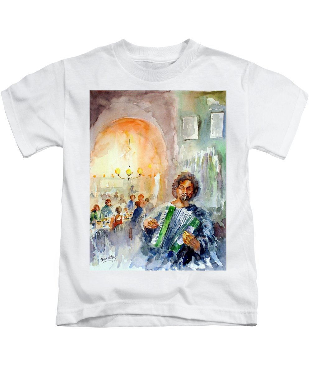 Tavern Kids T-Shirt featuring the painting A Night At The Tavern by Faruk Koksal