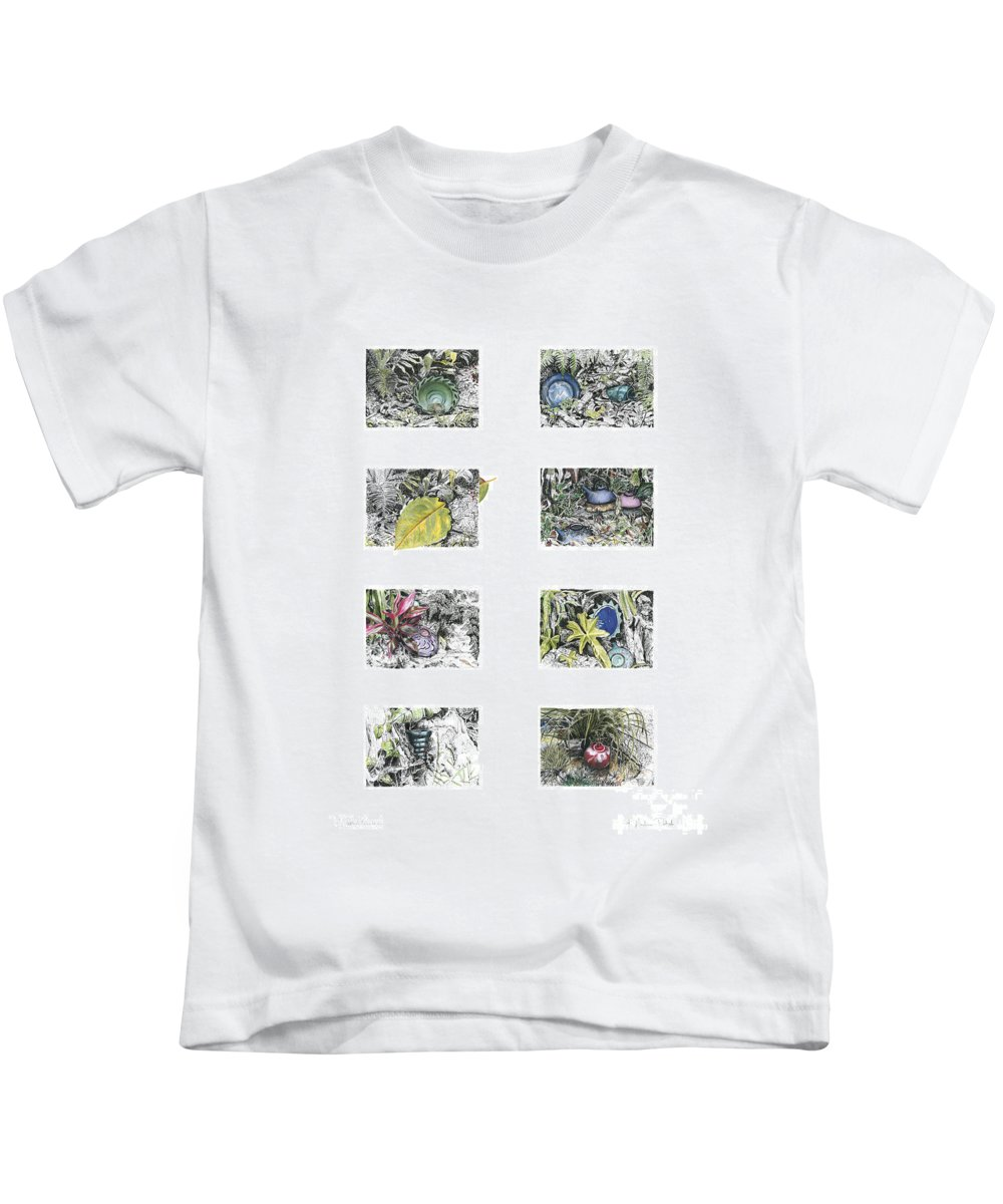 Tropical Kids T-Shirt featuring the drawing A Potters Garden by Kerryn Madsen-Pietsch