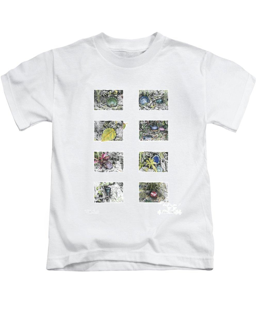 Tropical Kids T-Shirt featuring the drawing A Potters Garden by Kerryn Madsen-Pietsch