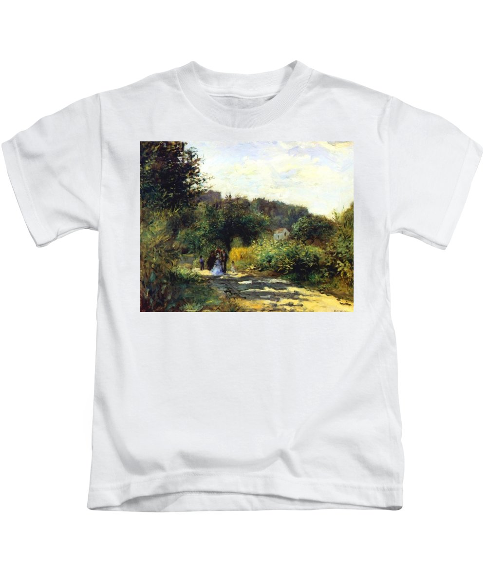 A Kids T-Shirt featuring the painting A Road In Louveciennes by Renoir PierreAuguste