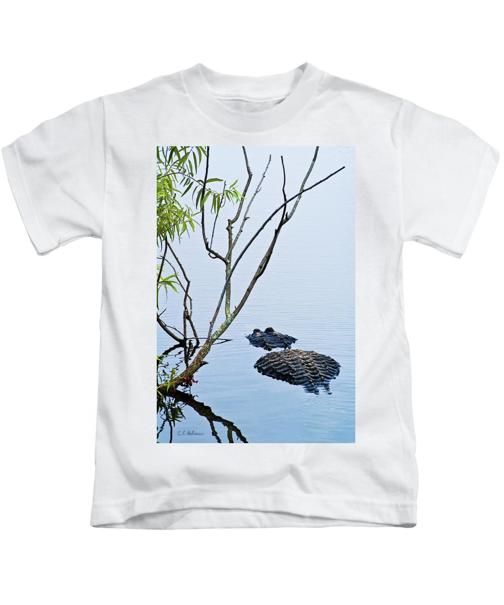 Alligator Kids T-Shirt featuring the photograph A Rough Patch by Christopher Holmes
