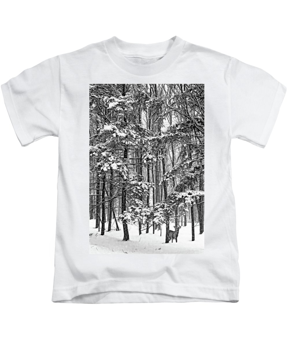 Deer Kids T-Shirt featuring the photograph A Snowy Day Bw by Steve Harrington